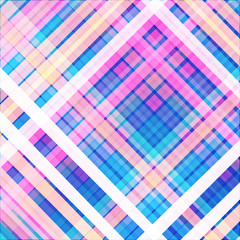 Diagonal checkered pattern background in pink and blue. Vector illustration.