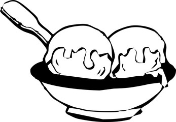 line art - ice cream on the bowl