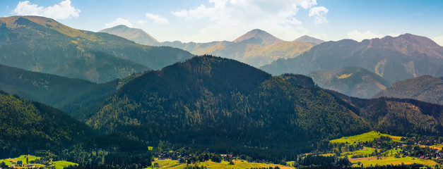 Panorama of High Tatras mountain ridge in Poland