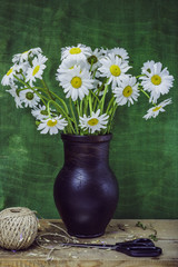 Still life with jug- bouquet daisies