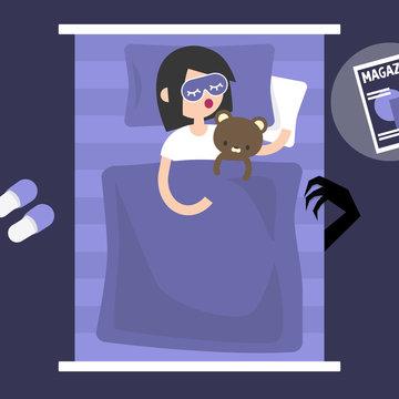 Monster under the bed. Conceptual illustration. Flat editable vector illustration, clip art