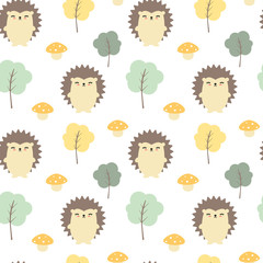 cute fall autumn seamless vector pattern background illustration with hedgehogs, trees and mushrooms