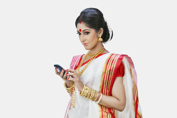 Bengali woman with mobile phone