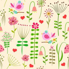 Seamless pattern with abstract meadow with flowers, birds, hearts on a light background.