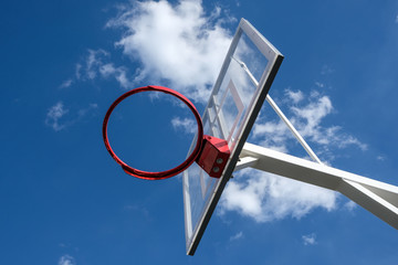 basketball basket on sky background