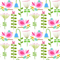 Seamless pattern with meadow flowers and a bird on a white background, a child's drawing.