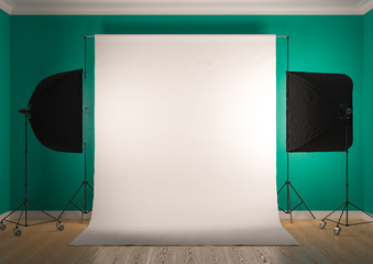 Interior of studio room with equipment. Artificial lighting with softboxes.Bright bluish green color of the walls.3D rendering