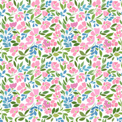 Seamless pattern with pink flowers and green branches on a white background.