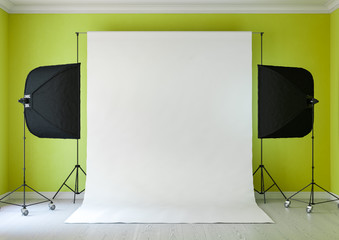 Interior of studio room with equipment. Lighting from the window.The saturated yellow-green color of the walls.3D rendering