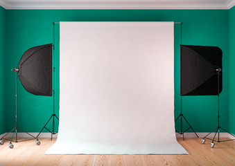 Interior of studio room with equipment. Lighting from the window.Bright bluish green color of the walls.3D rendering