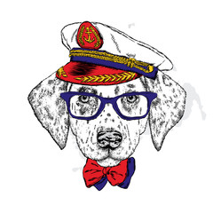 A handsome puppy in a cap cap, glasses and a tie. Vector illustration for a postcard or a poster, print for clothes. Fashion & Style. Dalmatian.