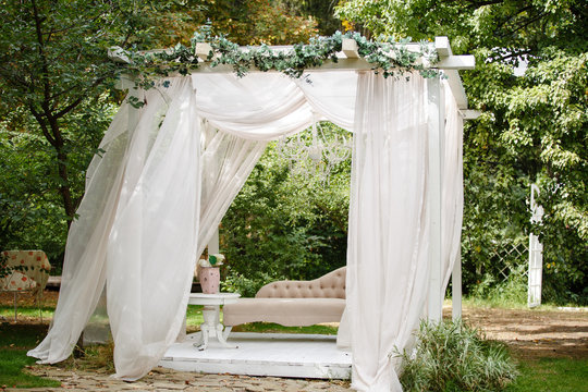 Gazebo for relaxing outdoors. Romantic alcove