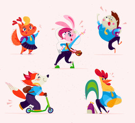 Vector flat school animal characters collection isolated