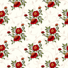 Vector seamless handdrawn pattern from dog roses blossom and fresh branches. For fabric, cloth design, wallpaper.