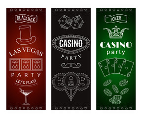 Casino party invitation with decorative elements. Gambling symbols. Vintage vector illustration