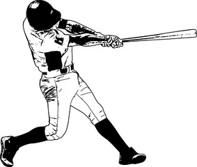 baseball player, sketch illustration - vector