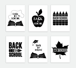 Back to school six posters. Vector greeting card set. All isolated and layered