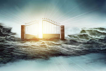 heaven gate to God and Jesus for Christian resurrection and faith concept