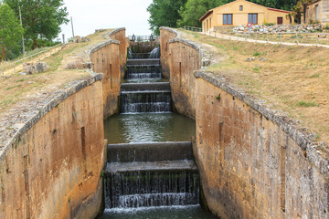 Locks of the channel of Castile. Fromista, Palencia, Spain
