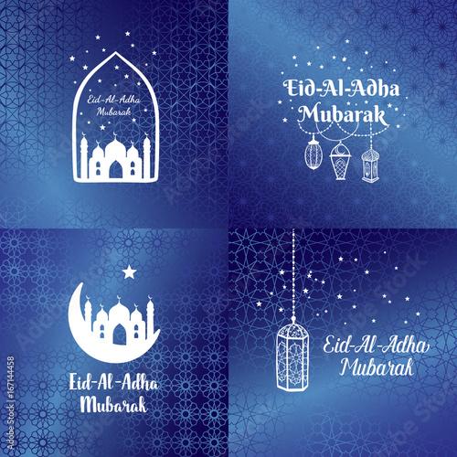 Eid Al Adha Mubarak Greeting Card Banner Poster Logo With Lantern