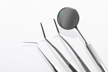 Wall Mural - Set of metal Dentist's medical equipment tools