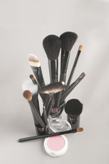 Assorted make-up brushes