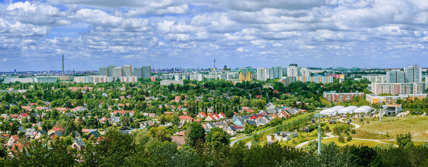 Panoramic view of the city of Berlin on a summer day