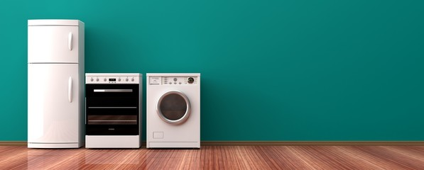 Home appliances on a wooden floor. 3d illustration