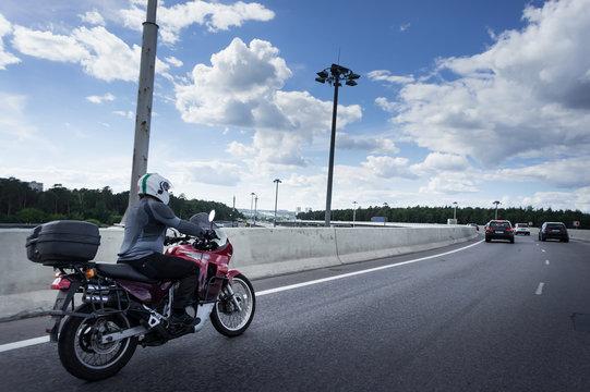 motorcycle on the motorway junction.
