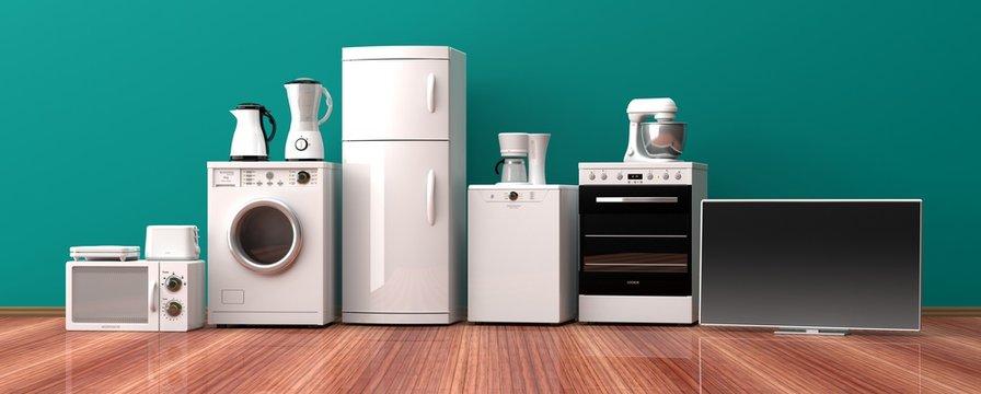 Set of home appliances on a wooden floor. 3d illustration