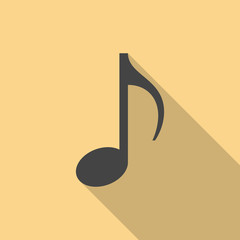 Music note icon with long shadow. Flat design style. Eighth note simple silhouette. Modern, minimalist icon in stylish colors. Web site page and mobile app design vector element.
