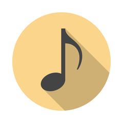 Music note circle icon with long shadow. Flat design style. Eighth note simple silhouette. Modern, minimalist, round icon in stylish colors. Web site page and mobile app design vector element.