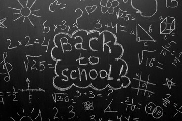Back to school concept.blackboard with formulas