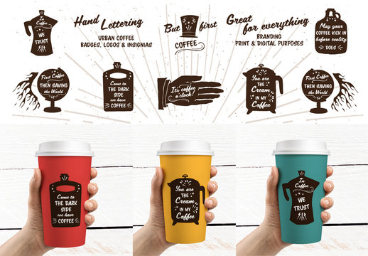 Hand-Lettered Coffee Icon Set