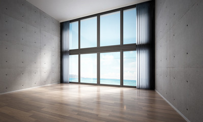 3D rendering interior design of living room and concrete wall background and sea view