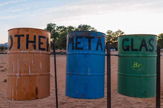 African colorful  trash cans on a camp site in  the Namib dessert