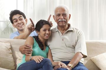 Portrait of a grandfather and grandchildren