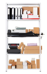 white metal rack with boxes, tools and different things, isolated object photo
