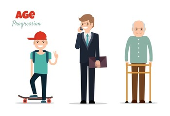 Different age groups of european man. Generations man. Stages of development man - infancy, childhood, maturity, old age. Vector flat illustration