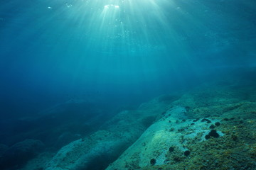 Natural sunlight underwater through water surface in the Mediterranean sea on a rocky seabed, Catalonia, Roses, Costa Brava, Spain