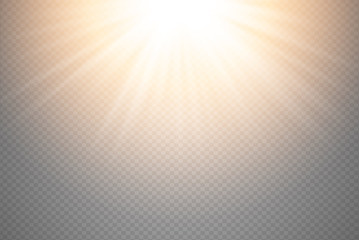 Golden glowing light burst explosion on transparent background. Vector illustration light effect decoration with ray. Bright star. Translucent shine sun, bright flare. Vibrant flash on top