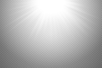 White glowing light burst explosion on transparent background. Vector illustration light effect decoration with ray. Bright star. Translucent shine sun, bright flare. Vibrant flash on top