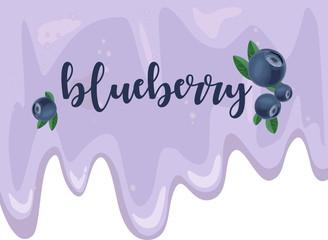 Blueberry smoothie concept yogurt detox . Vector background. Hand drawn illustration.