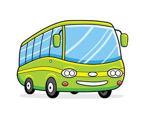 Green bus vector isolated.