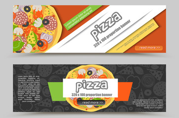 Cartoon Pizza Pizzeria flyer vector background. Two horizontal Pizza web banner with ingredients and text for delivery or restourant promotion