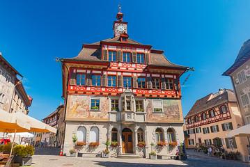 Altes Rathaus von Stein am Rhein mit Fassadenmalerei, Schweiz