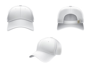Vector realistic illustration of a white textile baseball cap front, back and side view, isolated on white. Print, template, moc up, design element