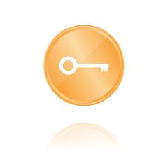 Schlüssel alt Bronze Münze mit Reflektion