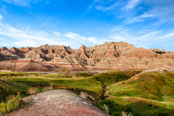 Badlands National Park in South Dakota, is a large, remote area of spectacular rock formations..