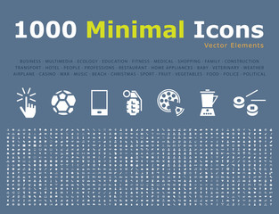 Set of 1000 Universal Solid Icons . Isolated Vector Elements